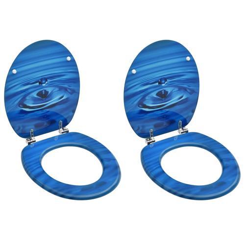 vidaXL Toilettensitze mit Deckel 2 Stk. MDF Blau Wassertropfen-Design