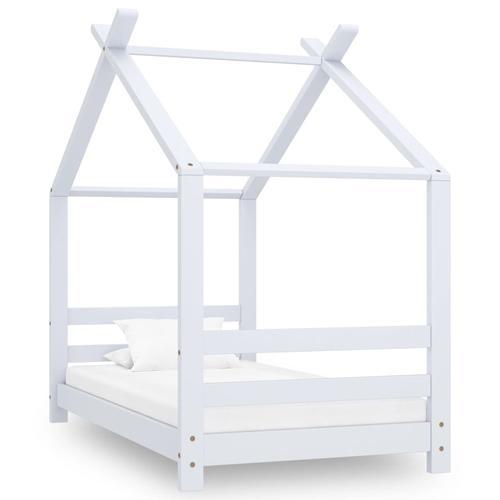 vidaXL Kinder-Bettgestell Weiß Massivholz Kiefer 70x140 cm