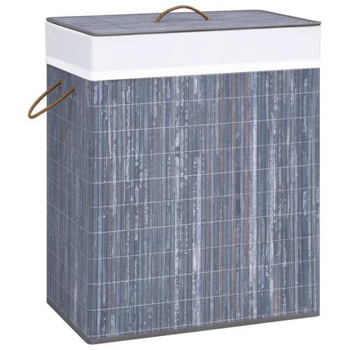 vidaXL Bambus-Wäschekorb Grau 100 L