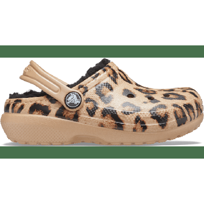 Crocs Leopard / Gold Kids' Classic Lined Out Of This World Clog Shoes