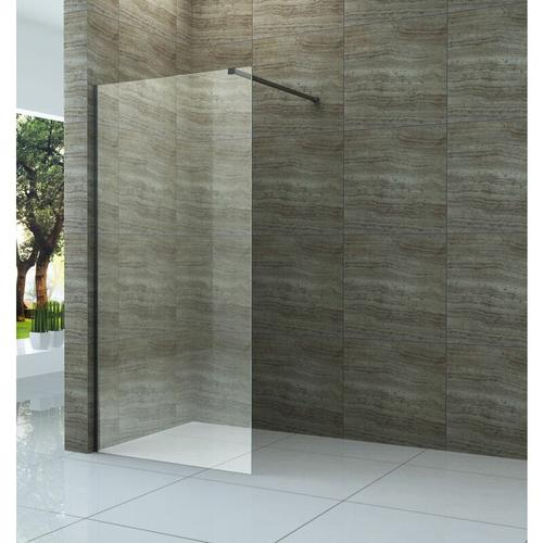 Duschwand DIDIVO mit schwarzen Anbauteilen in 90 x 200 cm