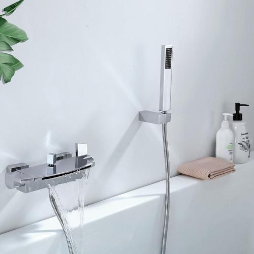 Moderne Badewannenarmatur mit Regal, Wannenarmatur Wasserfall mit Handbrause Badewanne Armatur