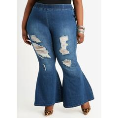 Plus Size Pull On High Waist Flare Jean