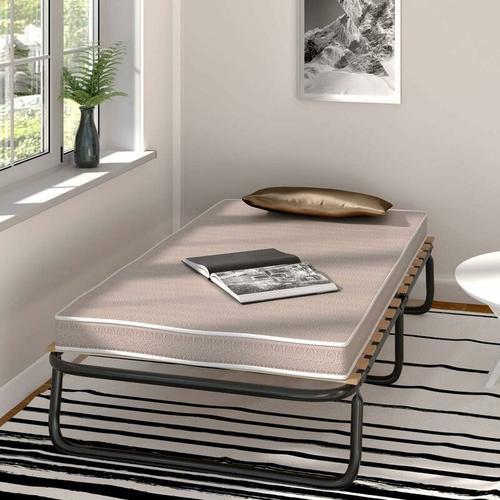 190 x 80cm Gaestebett mit Memoryschaum Matratze, Einzelbett klappbar, Metallbett bis 90KG