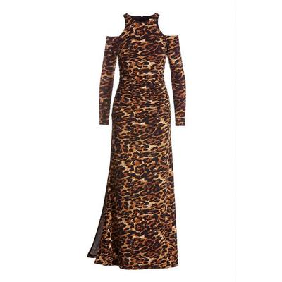 Boston Proper - Animal Print Cold-Shoulder Ruched Slit Gown - Brown Multi - Small