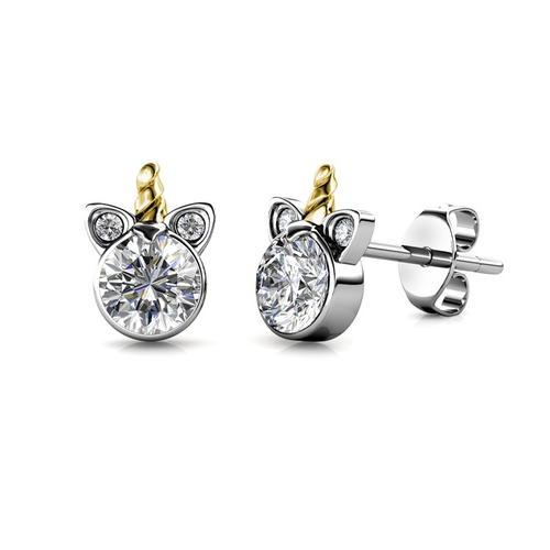 Einhorn Ohrringe mit Swarovski®-Kristallen