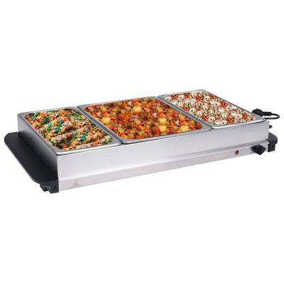 vidaXL Serveur buffet Acier inoxydable 400 W 2x2,5 L+1x4 L