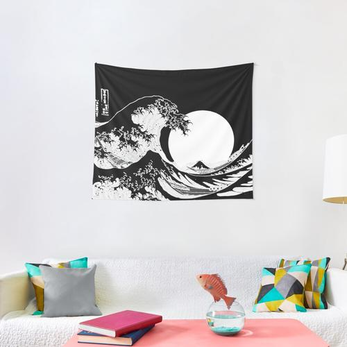 Great Wave Monochrome Wall Tapestry