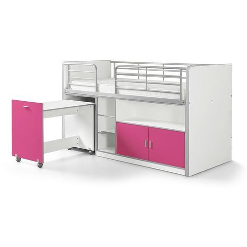 Hochbett Tomek inklusive Schreibtisch weiß - pink EN 747-1+2