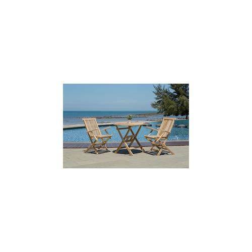 Möbilia Gartentisch, 80 cm rund, Teak