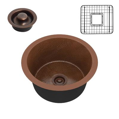 Thrace Drop-in Handmade Copper 17 in. 0-Hole Single Bowl Kitchen Sink in Hammered Antique Copper - ANZII SK-003