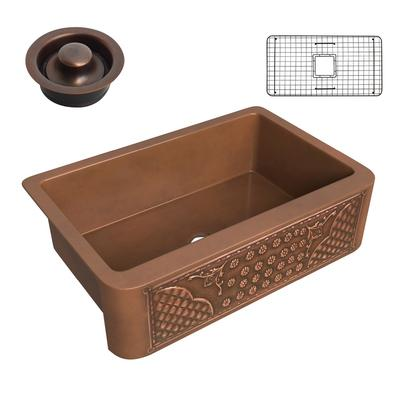 Macedonian Farmhouse Handmade Copper 33 in. 0-Hole Single Bowl Kitchen Sink with Flower Bed Design Panel in Polished Antique Copper - ANZII SK-011