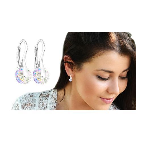 Ah! Jewellery Ohrringe mit Swarovski®-Kristallen: 3 Paar/ Aurore Boreale + Amethyst + Rose Water Opal