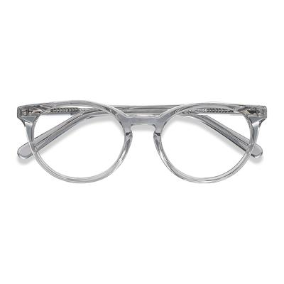Unisex Round Gray Clear Acetate ...