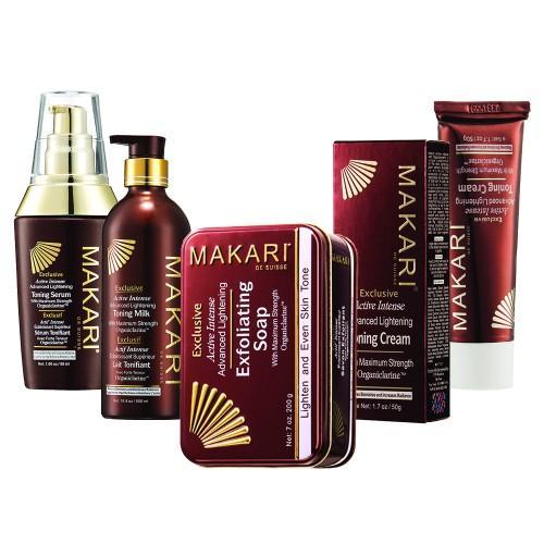 Makari Exclusive Serie zur Hautaufhellung - Mit Lotion, Creme, Serum, Gel und Seife