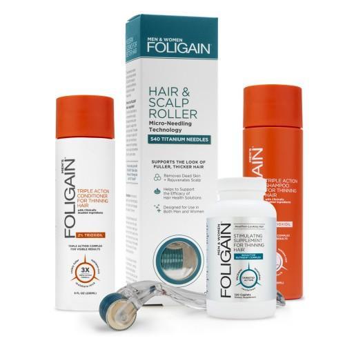 Foligain Men's Bundle - Kombinationspaket für dünner werdendes Haar für Männer - Mit natürlichem Shampoo und Conditioner