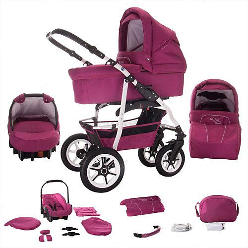 Bellami Hartgummireifen in Weiß 3 in 1 Kombi Kinderwagen Kombikinderwagen pink