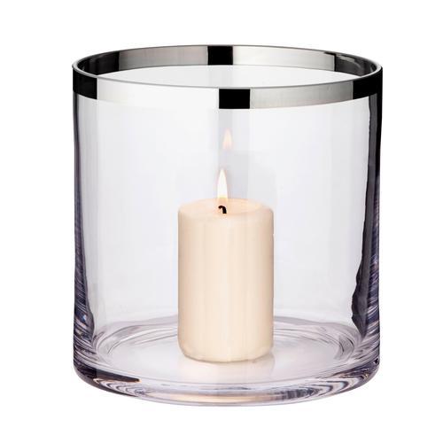 EDZARD Windlicht Molly, Laterne aus Kristallglas mit Platinrand, Kerzenhalter für Stumpenherzen, Höhe 18 cm, Ø cm farblos Kerzen Laternen Wohnaccessoires