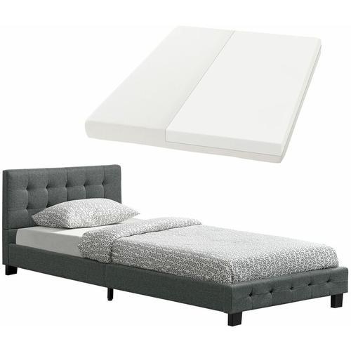 Polsterbett Manresa 90 x 200 cm – Bett mit Lattenrost, Matratze und Kopfteil – Komplett-Set