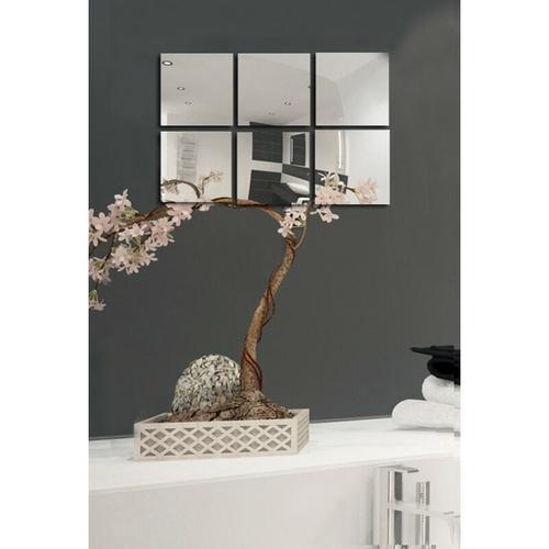 Spiegel Spiegelfliesen Wandspiegel Fliesenspiegel selbstklebend 6 Stück - 10x10cm - MSV