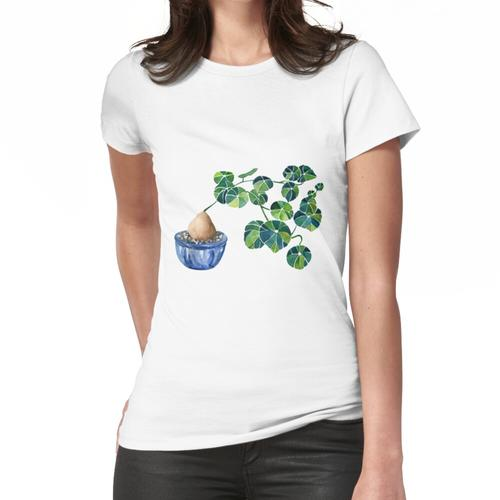 Aquarell Bonsai Pflanze / Stephania Erecta Kartoffelpflanze Frauen T-Shirt