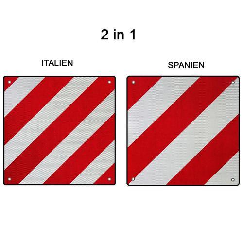 Alu-warntafel Warnschild 50x50cm Für Italien + Spanien Pkw Wohnwagen Anhänger 361234
