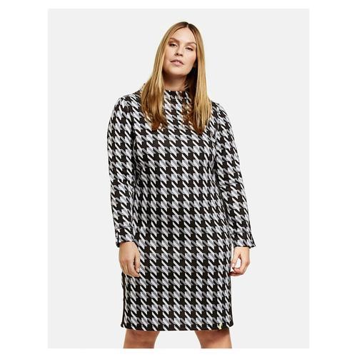 Kleid mit Hahnentrittmuster Samoon Black gemustert