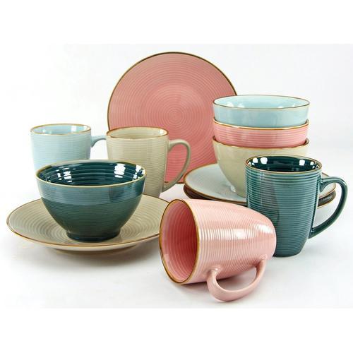 CreaTable Frühstücks-Geschirrset »Cosy Morning« (12-tlg), Steinzeug, Kreisstruktur