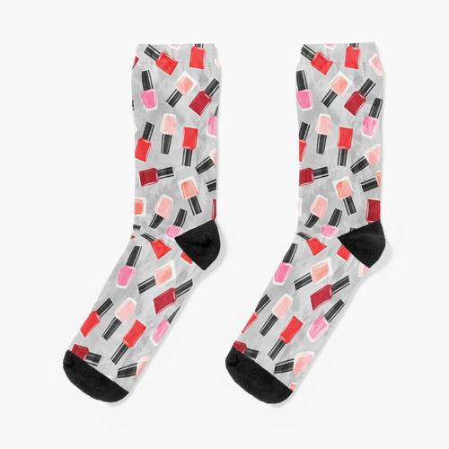 Nagellack - Rot & Grau Socken