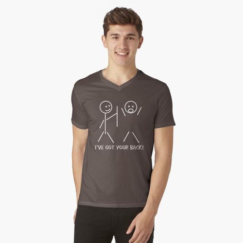 Strichmännchen Ich habe deinen Rücken t-shirt:vneck