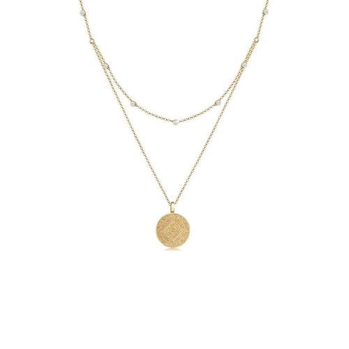 Elli Gliederkette »Münze Plättchen Kristalle 925 Silber«