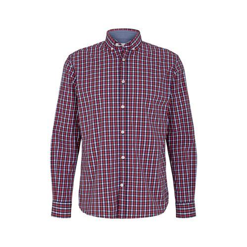 TOM TAILOR Herren Karo Stretch Hemd, rot, Gr.L