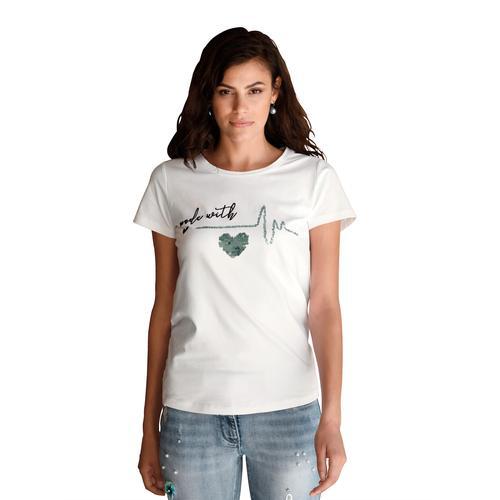 Amy Vermont Paillettenshirt, mit Pailletten und Stickerei weiß Damen Jersey Shirts Sweatshirts Paillettenshirt