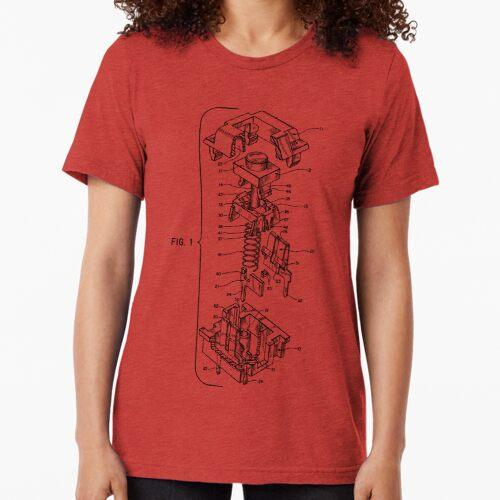 Mechanical Keyboard Key Patent Tri-blend T-Shirt