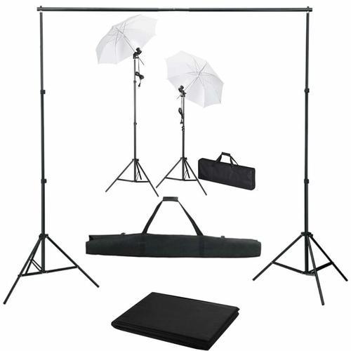 Fotostudio-Set mit Hintergrund, Leuchten und Schirmen - Youthup