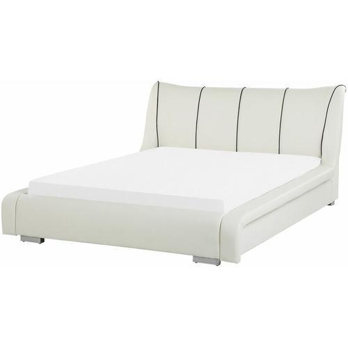 Beliani - Wasserbett Weiß Leder 140 x 200 cm Schlafzimmer