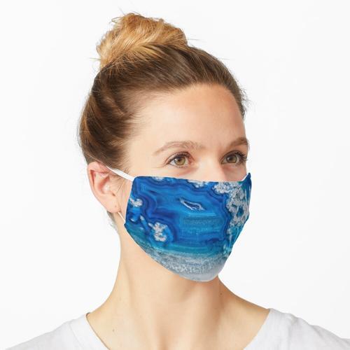Blauer und weißer Achatkristall Maske