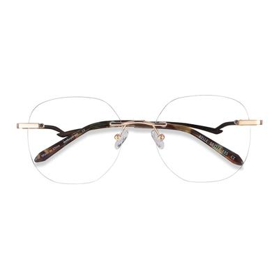 Female's Square Gold Metal Prescription eyeglasses - EyeBuydirect's Belle