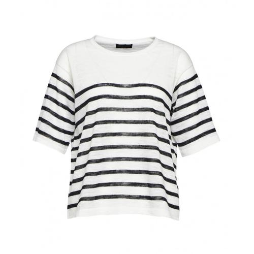 Roberto Collina Damen Shirt mit Streifen Weiß