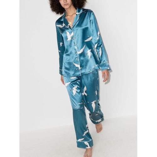 Olivia Von Halle Lila Bird Pyjama aus Seide