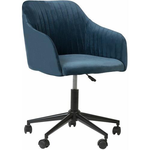Arbeitshocker mit Rollen Blau aus Samtstoff Moderner Bürostuhl
