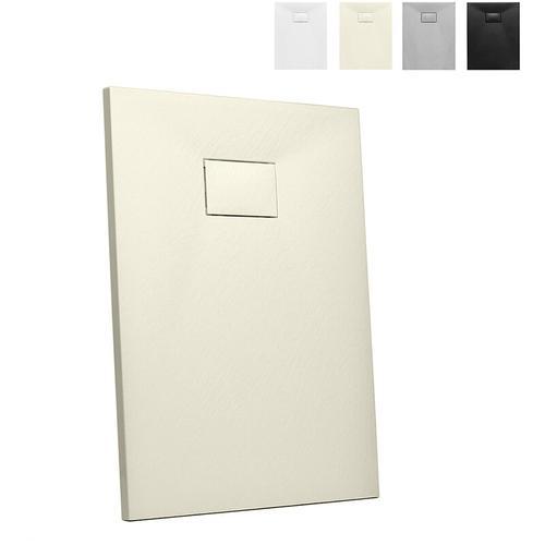 Rechteckige Duschbox aus Kunstharz auf Bodenhöhe 90x70 Stone | Farbe: Beige
