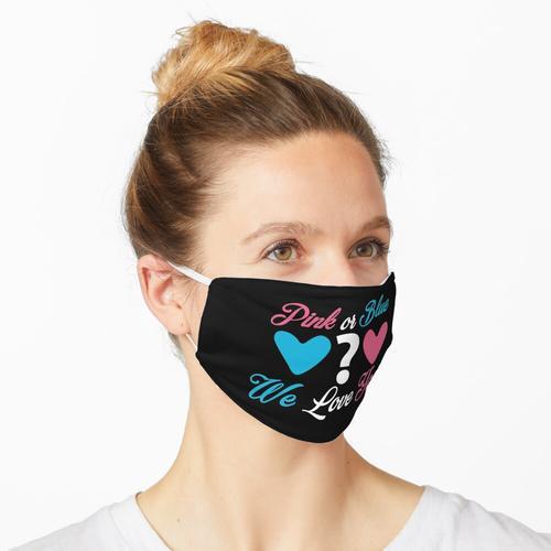 Pink oder Blau Wir lieben dich Babyparty Maske