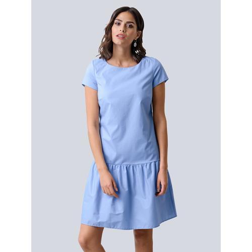 Alba Moda, Kleid mit angesetzter Rüsche am Abschluss, blau