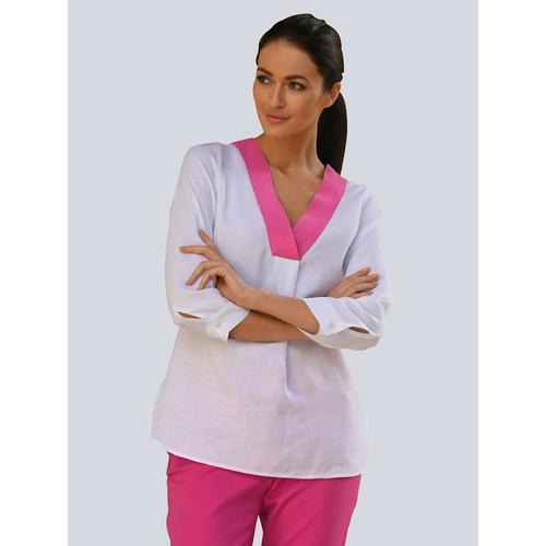 Alba Moda, Bluse aus hochwertigem Leinen, weiß