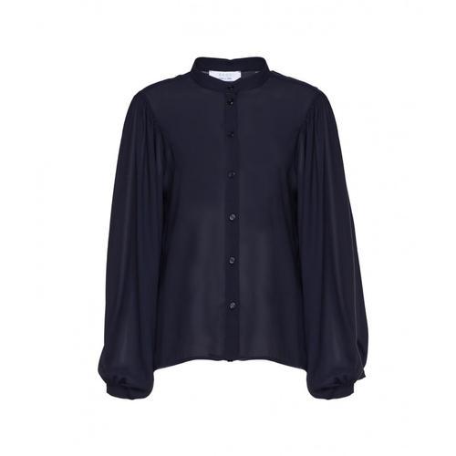 Kaos Damen Bluse mit Puffärmel Blau