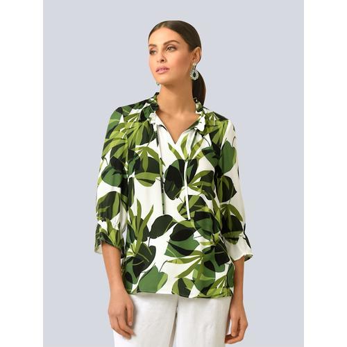 Alba Moda, Bluse im Blätterdessin, weiß