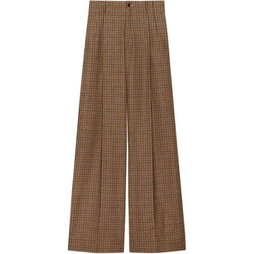 Gucci Weit geschnittene Hose aus Wolle mit Hahnentrittmuster