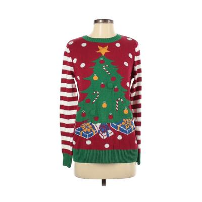 Ugly Christmas Sweater Pullover Sweater: Red Print Tops - Size Small