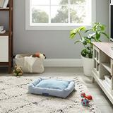 Sam's Pets Arlo Bolster Plaid Dog Bed, Blue, Medium